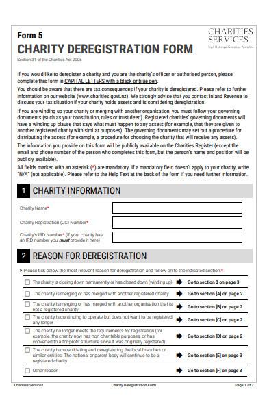 charity deregistration form