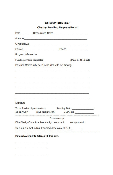 charity funding form