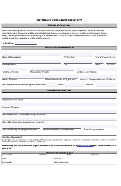 charity information form