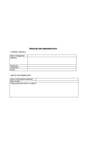 charity kids application form