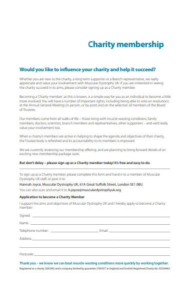 charity membership form