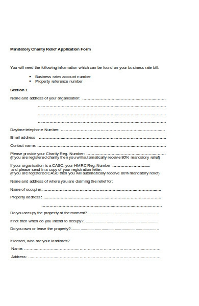 charity relief application form