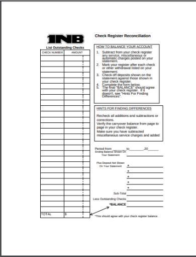 checkbook register reconciliation form