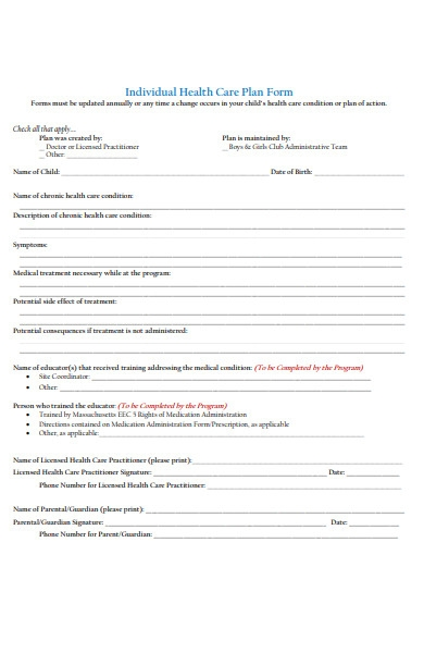 child healthcare form