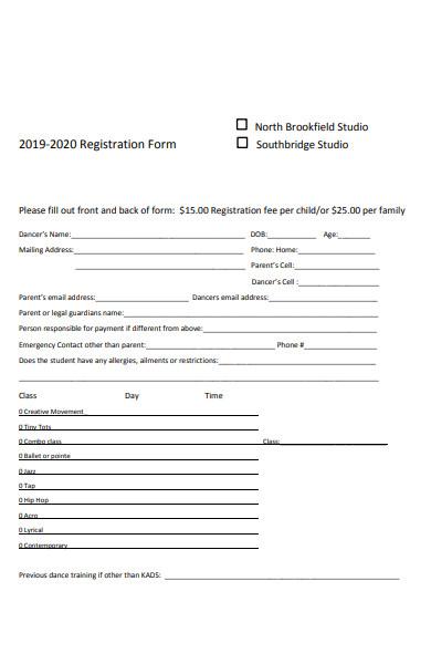 child registration content form