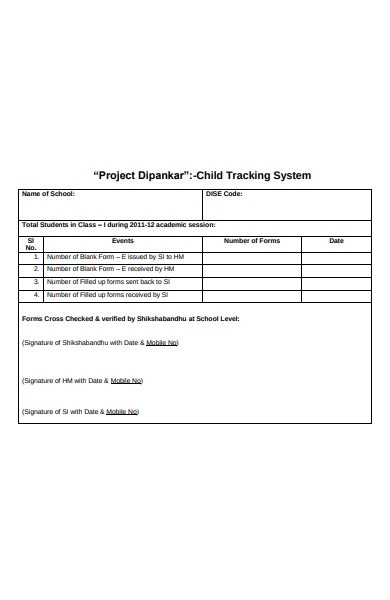 child tracking system forms