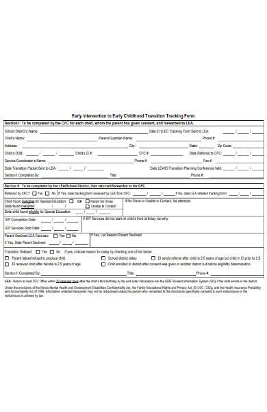 childhood transition tracking forms