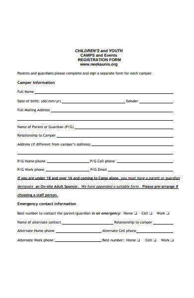 children camp event registration form