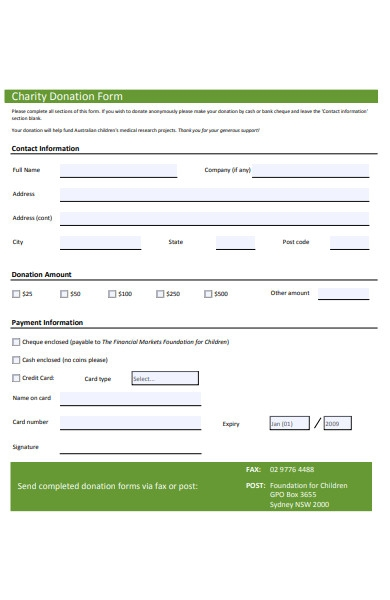 children charity form
