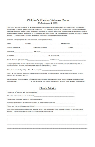 children ministry volunteer form