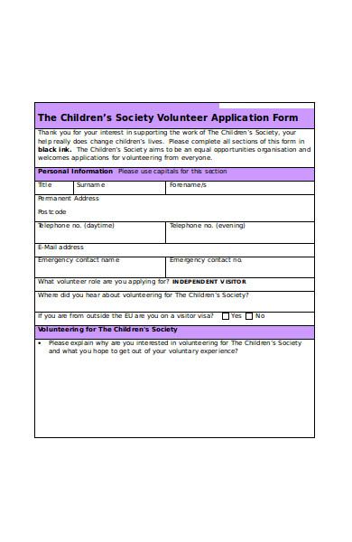 children society volunteer application form