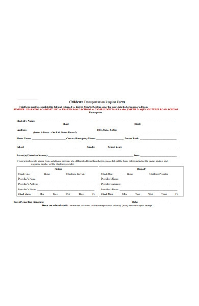 children transportation request form