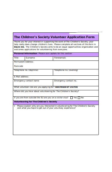 children volunteer form