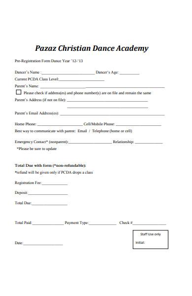 christian dance registration form