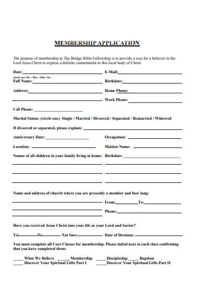church application form