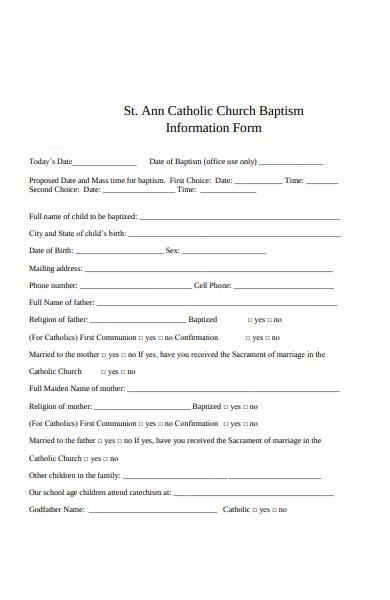 church baptism information form