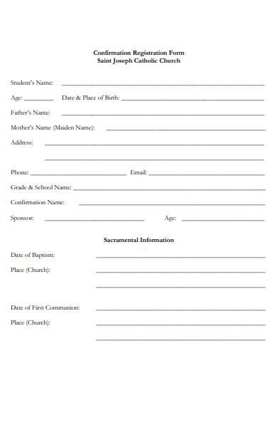 church confirmation form