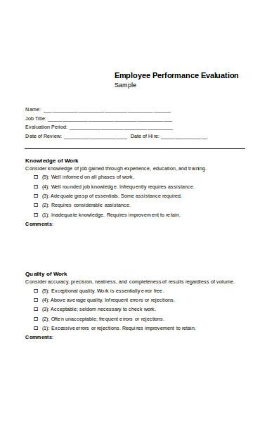 church employee evaluation form