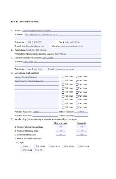 church information form