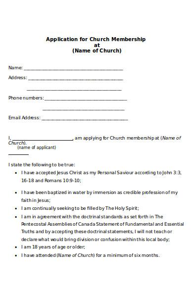 church membership form1