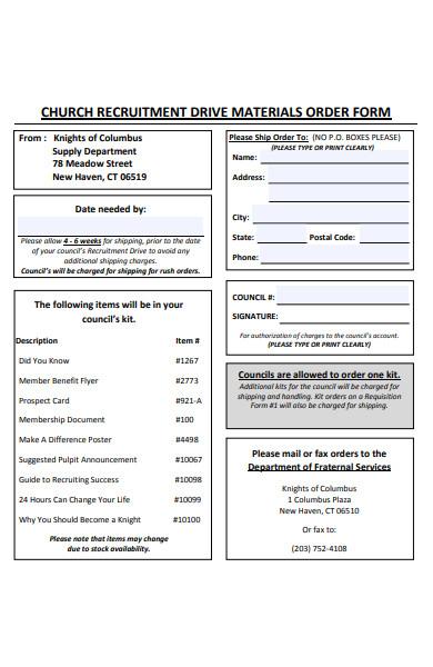 church order form