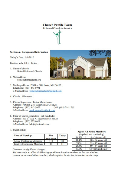 church profile form