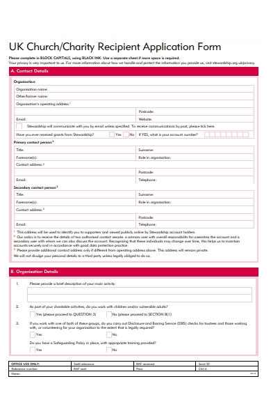 church recipient form