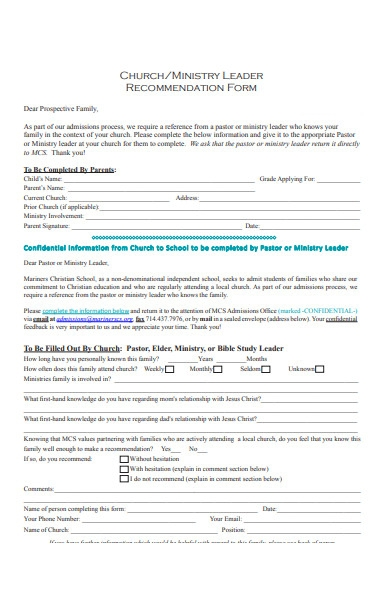 church recommendation form