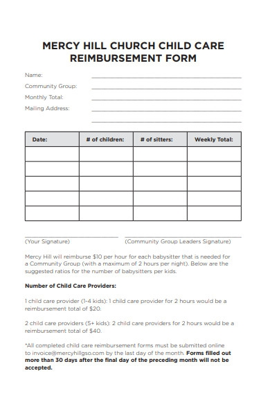 church reimbursement form