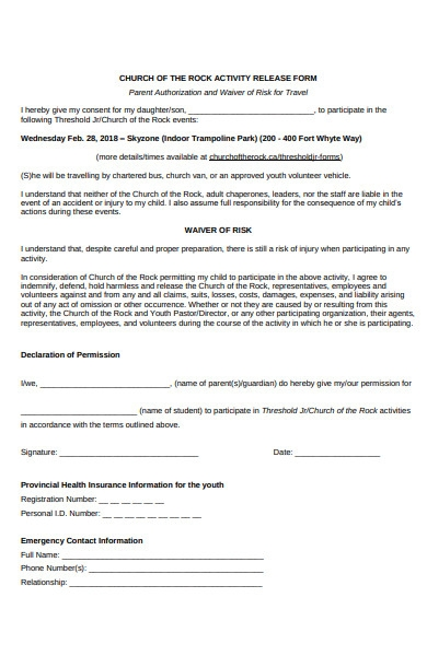 church release form
