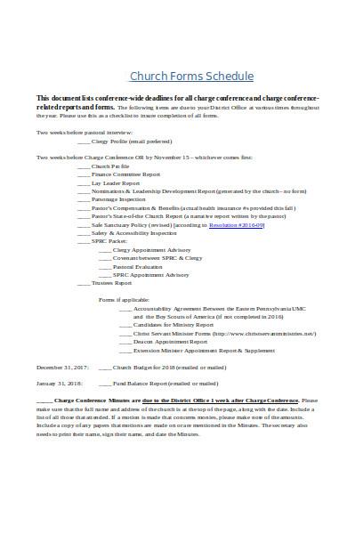 church schedule form