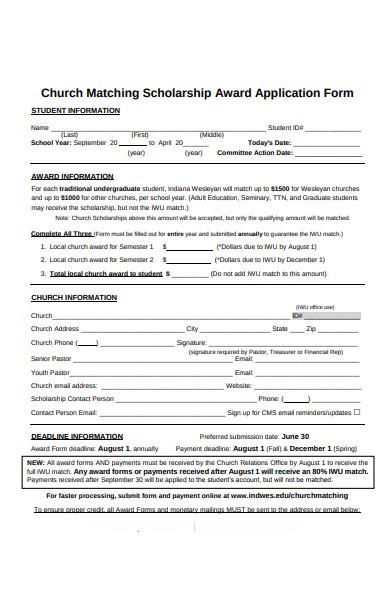 church scholarship forms