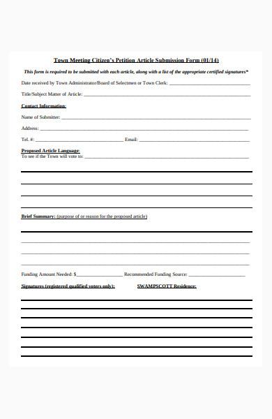 citizen's petition form