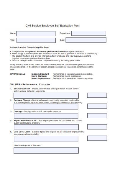 civil service employee self evaluation form