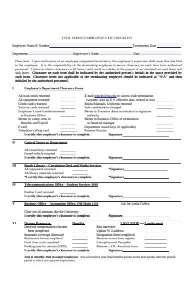 civil service exit interview checklist form