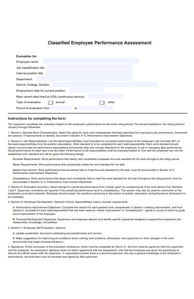 classified employee performance evaluation form