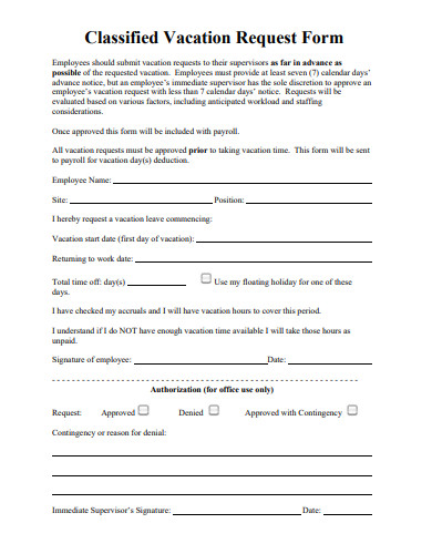classified vacation request form