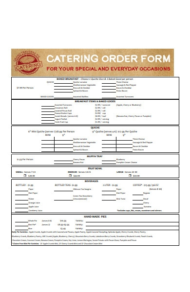 client catering order form