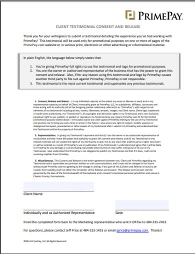 client testimonial consent release form