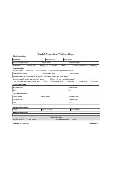 client transportation request form