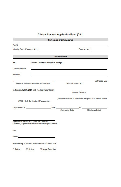 clinical abstract application form
