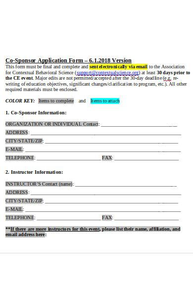 co sponsor application form