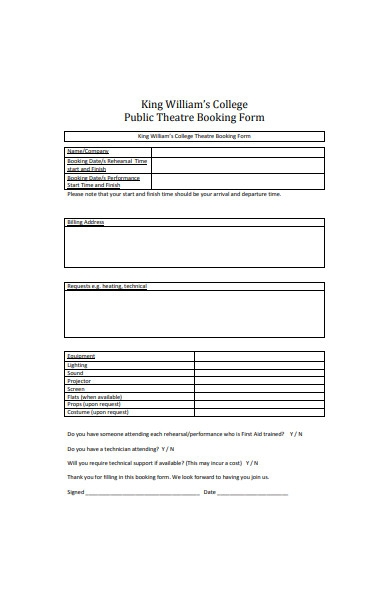 college event booking form