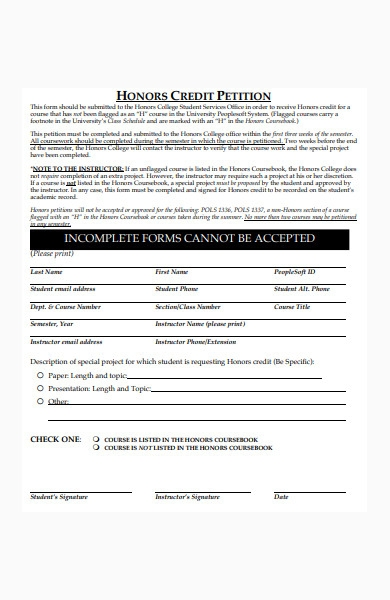 college petition form