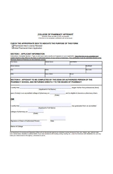college of pharmacy affidavit form