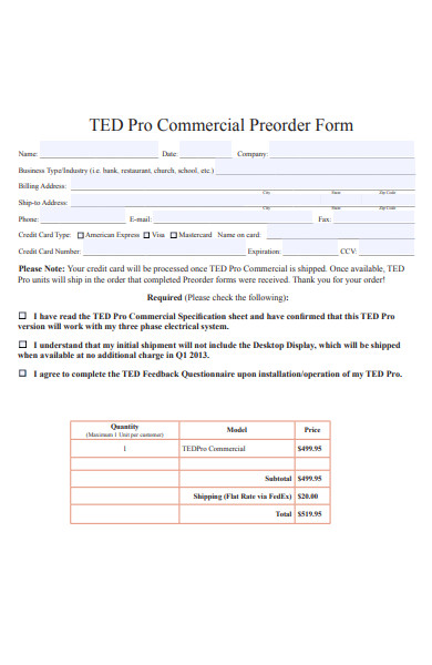 commercial preorder form