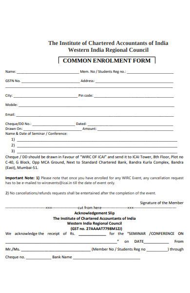 common enrolment form