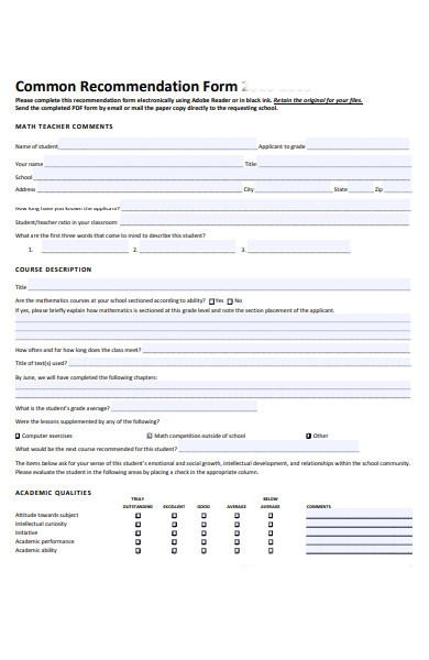 common recommendation form