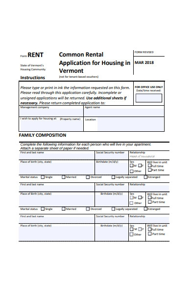common rental application form