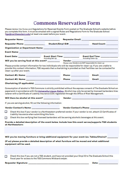 common reservation form
